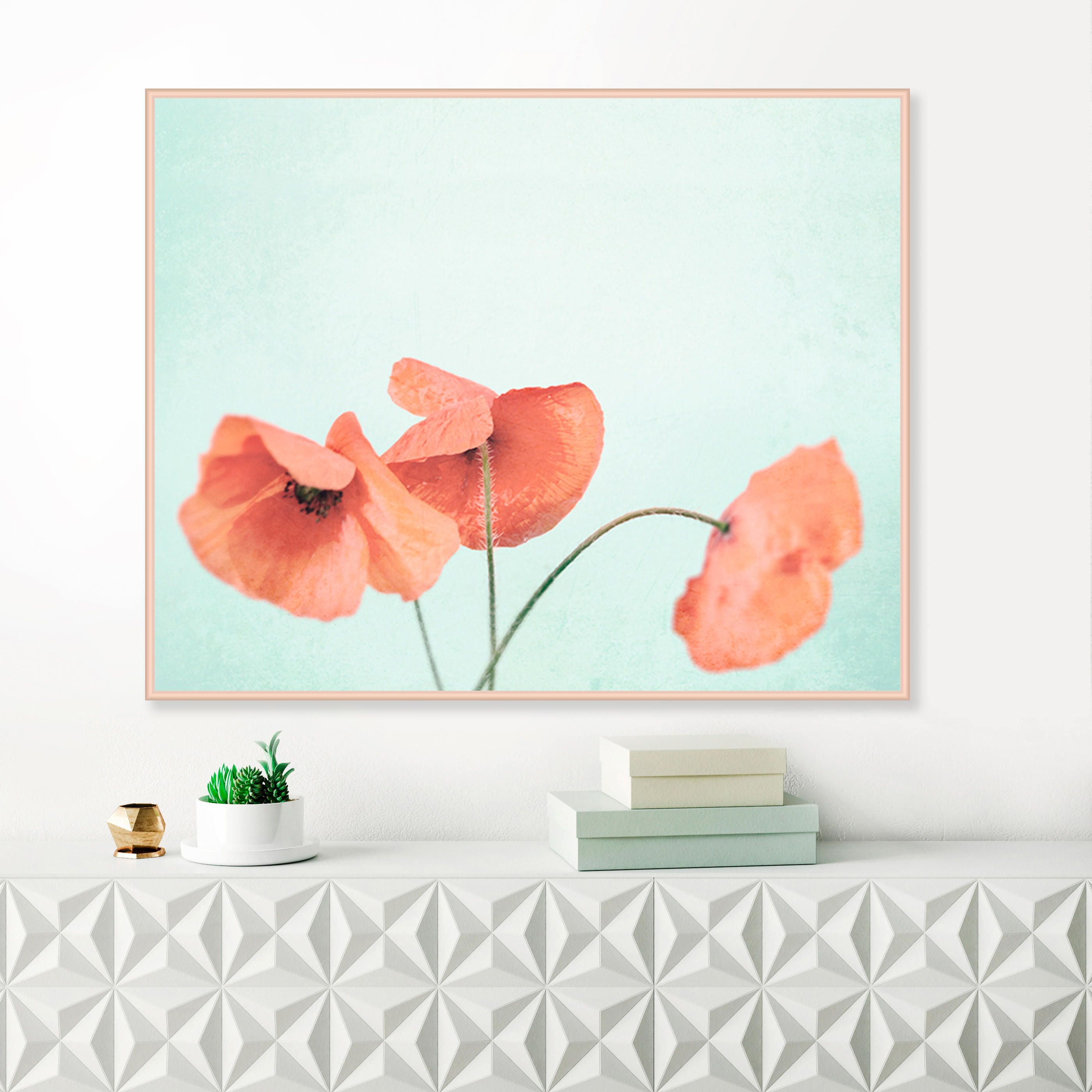Poppy Photography, Pale Pink And Blue Poppy Print, Poppies Wall