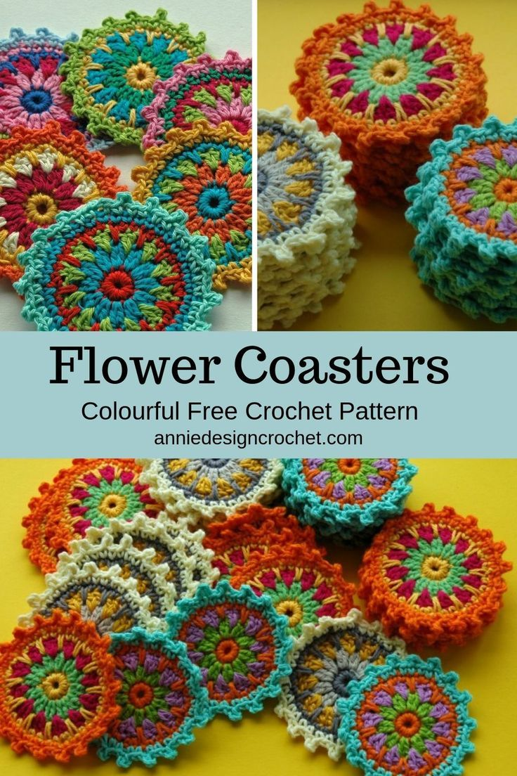 Free crochet pattern for mandala flower coasters. Easy pattern with tutorial to make these colourful little mug rugs! #crochetmandalapattern
