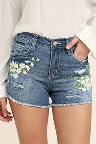white destroyed denim shorts