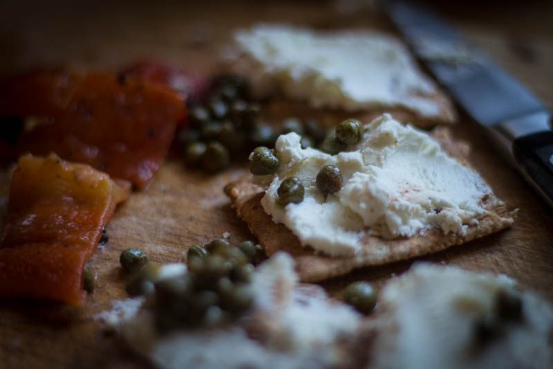 Roasted peppers, goat cheese and capers | Steve Sando, Rancho Gorda
