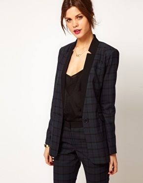 Warehouse Check Blazer With Contrast Collar