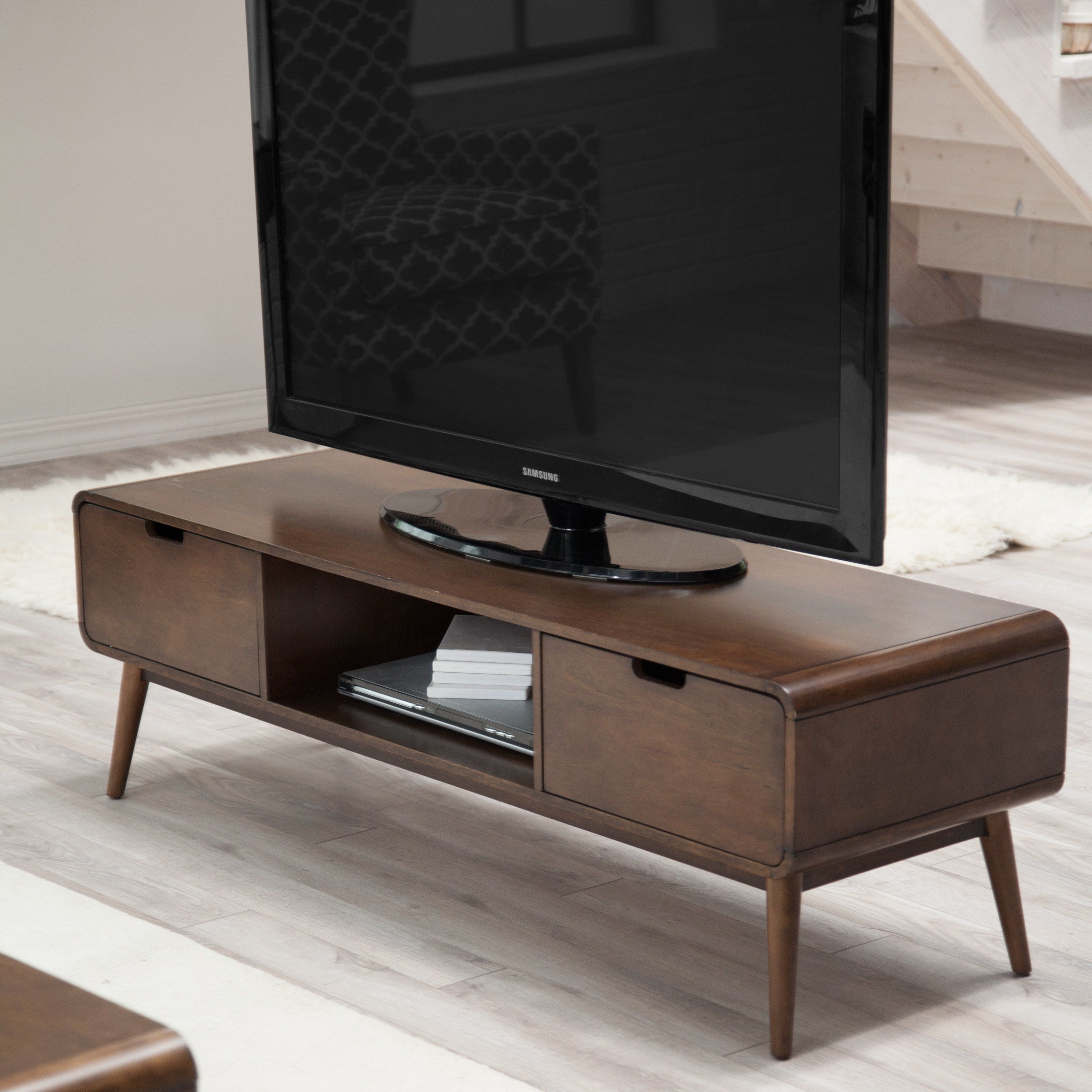 belham living carter mid century modern tv stand while. Black Bedroom Furniture Sets. Home Design Ideas