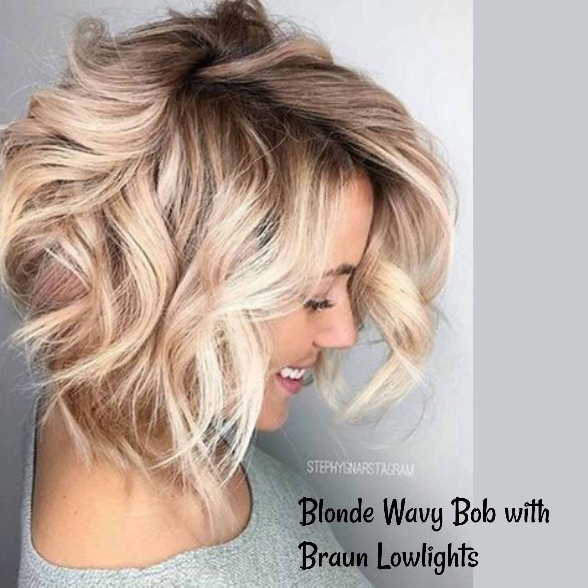 blonde wavy bob with braun lowlights   beauty in 2019