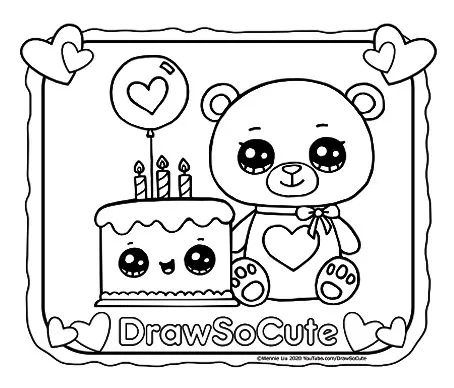 Bear With Cake Coloring Page Draw So Cute Cool Coloring Pages Coloring Pages Unicorn Coloring Pages