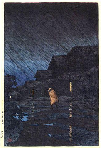 hanga gallery . . . torii gallery: Night Rain at Teradomari by Kawase Hasui