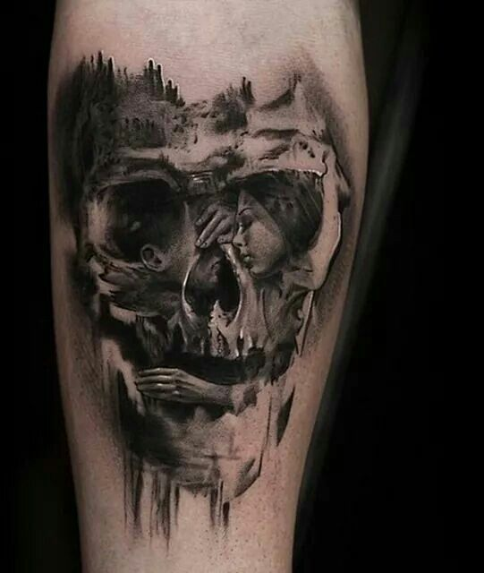 optical skull tattoo tattoos body art pinterest tattoo ideen totenkopf tattoos und. Black Bedroom Furniture Sets. Home Design Ideas