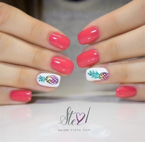 Photo of Nail art from NAILS Magazine Nail Art Gallery, gel polish, sunset, pineapple …