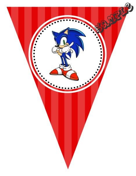 Diy Sonic Birthday Party Pendant Banner Design Online Download Print Immediately Any Color Scheme Pendan Aniversario Do Sonic Mulan Canecas Personalizadas