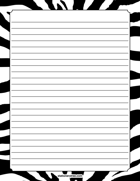 Printable Zebra Print Stationery And Writing Paper. Multiple Versions  Available With Or Without Lines.  Free Lined Paper To Print
