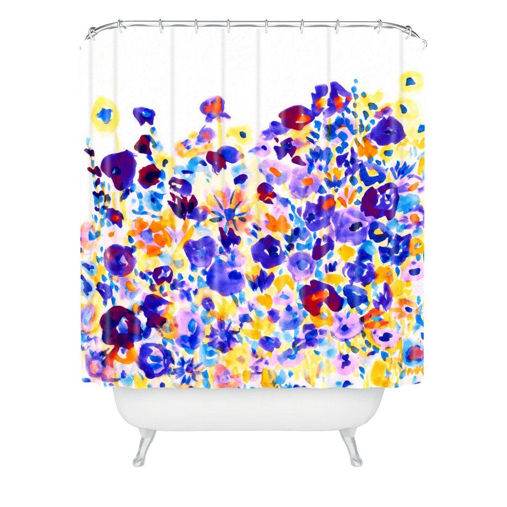 Amy Sia Flower Fields Cornflower Shower Curtain Deny Designs