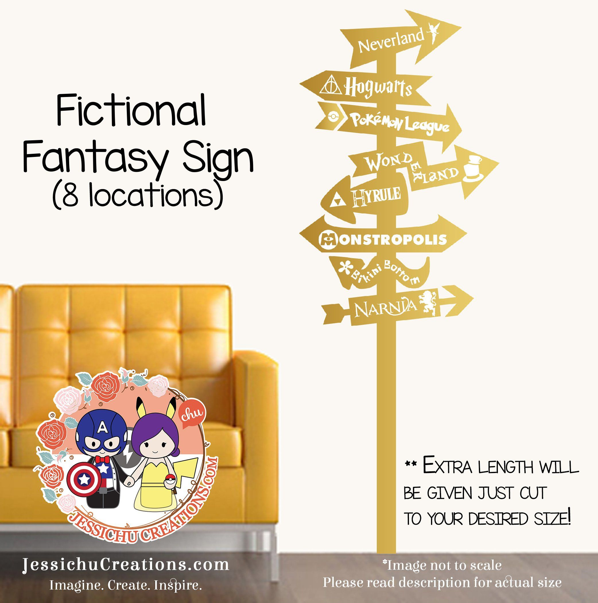 Fictional Fantasy World Sign Post Vinyl Wall Decal Sticker