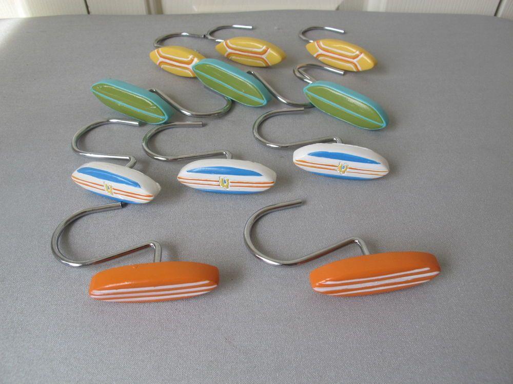 surf board shower curtain hooks set of