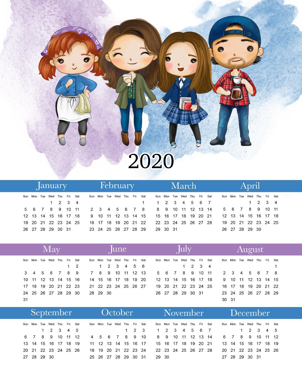 Free Printable 2020 Gilmore Girls Calendar in 2020