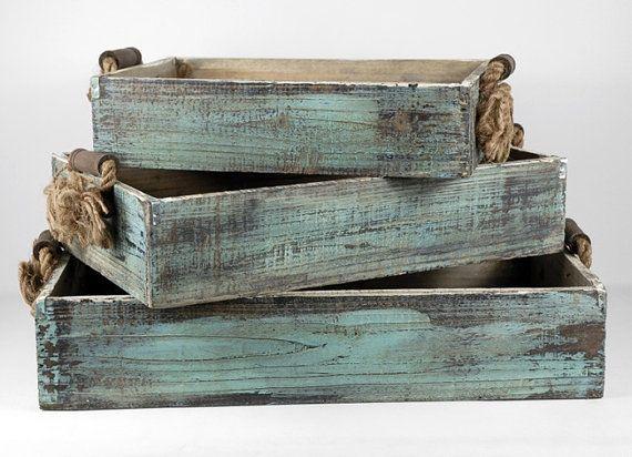 Cajas De Madera Rusticas Con Manijas De La Cuerda Cajas De Fresas