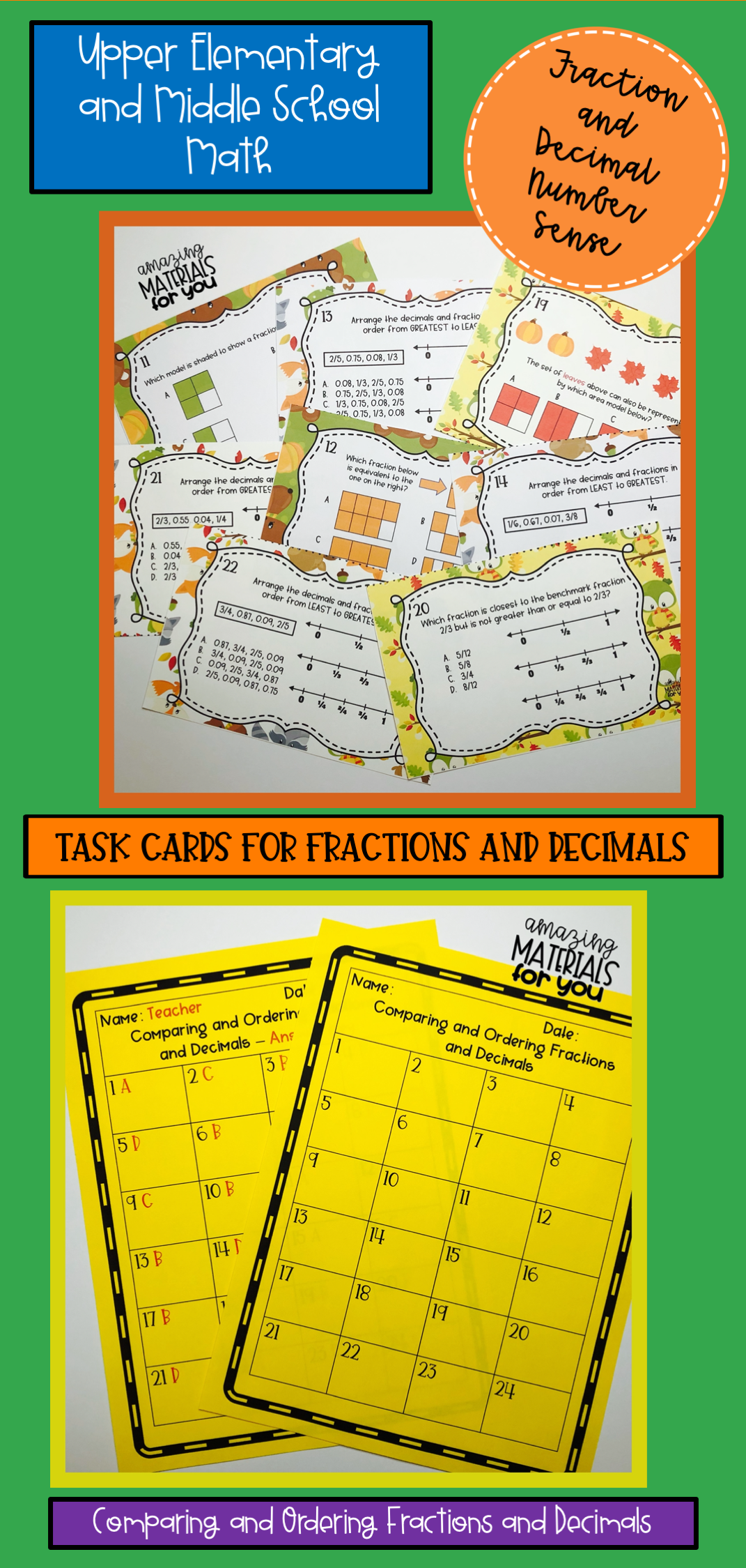 Comparing and Ordering Decimals and Fractions Task Cards ...