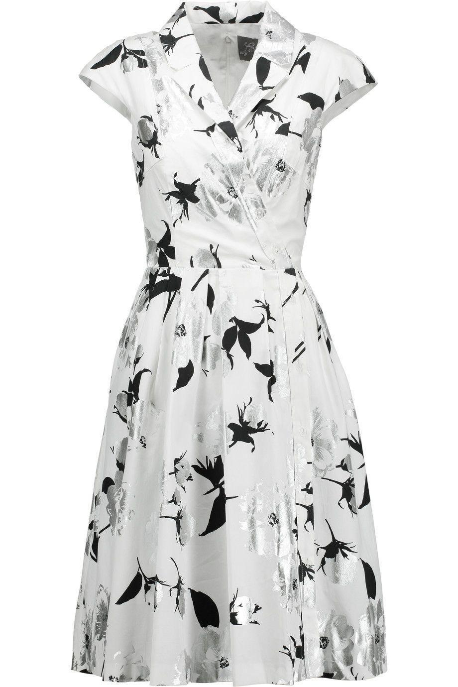 Lela Rose Woman Floral-print Stretch-cotton Dress White Size 4 Lela Rose Discount High Quality Buy Cheap Cheap Purchase Cheap Price Original Cheap Price Discount Authentic CSOlQ