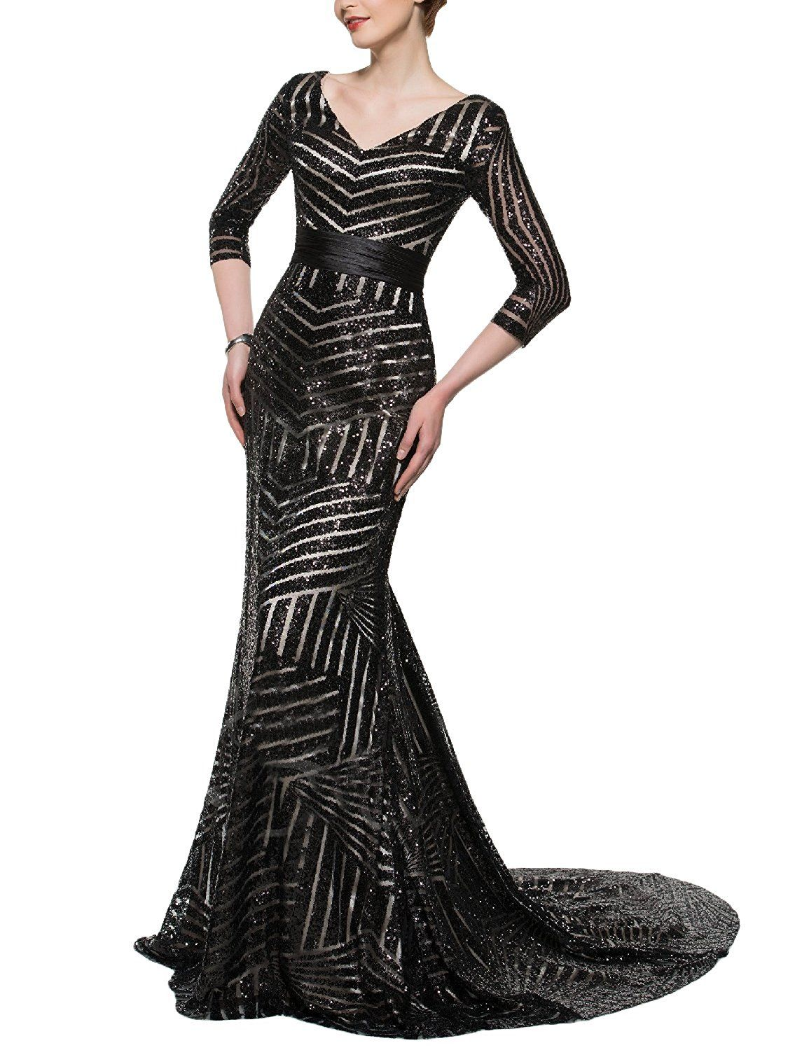 bb92890d241b YSMei Women s Long Mermaid Evening Dress Sequins 3 4 Sleeve Formal Gown V  YSQ102     See this great product. (This is an affiliate link and I receive  a ...