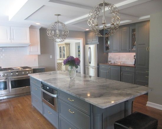 Grey And White Kitchen With Island slate gray contemporary kitchen island design with white fantasy