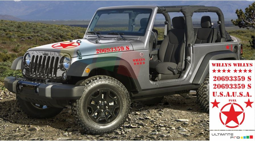 Willys Decal sticker Compatible with Jeep Wrangler RUBICON