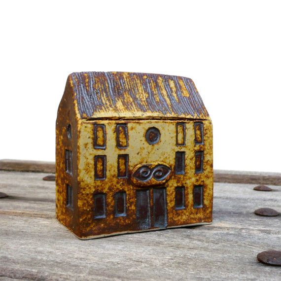 Yellow And Rust House Quayside Building Ceramic Sculpture