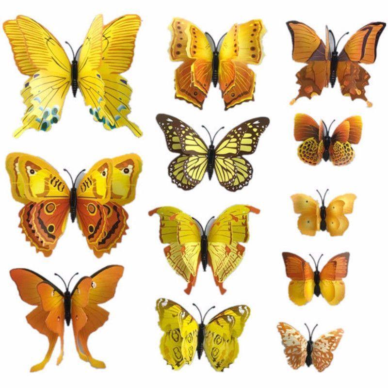 12pcs Magnet Butterflies 3D PVC Wall Stickers | Wall sticker ...