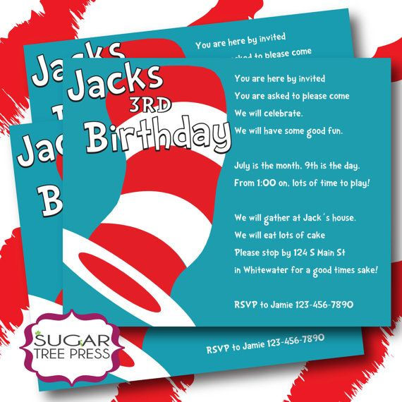Dr Seuss Birthday Invitation Wording – Cat in the Hat Party Invitations
