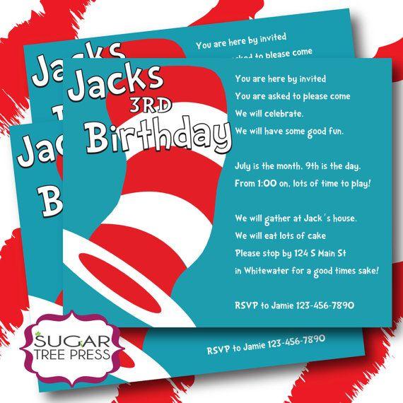 Dr. Seuss Birthday Invitation Wording