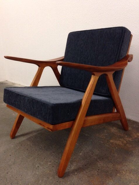 Items Similar To Danish Mid Century Modern Style Teak Lounge Chair   Hans  Wegner Style Wood Armchair Sculpted Arms On Etsy