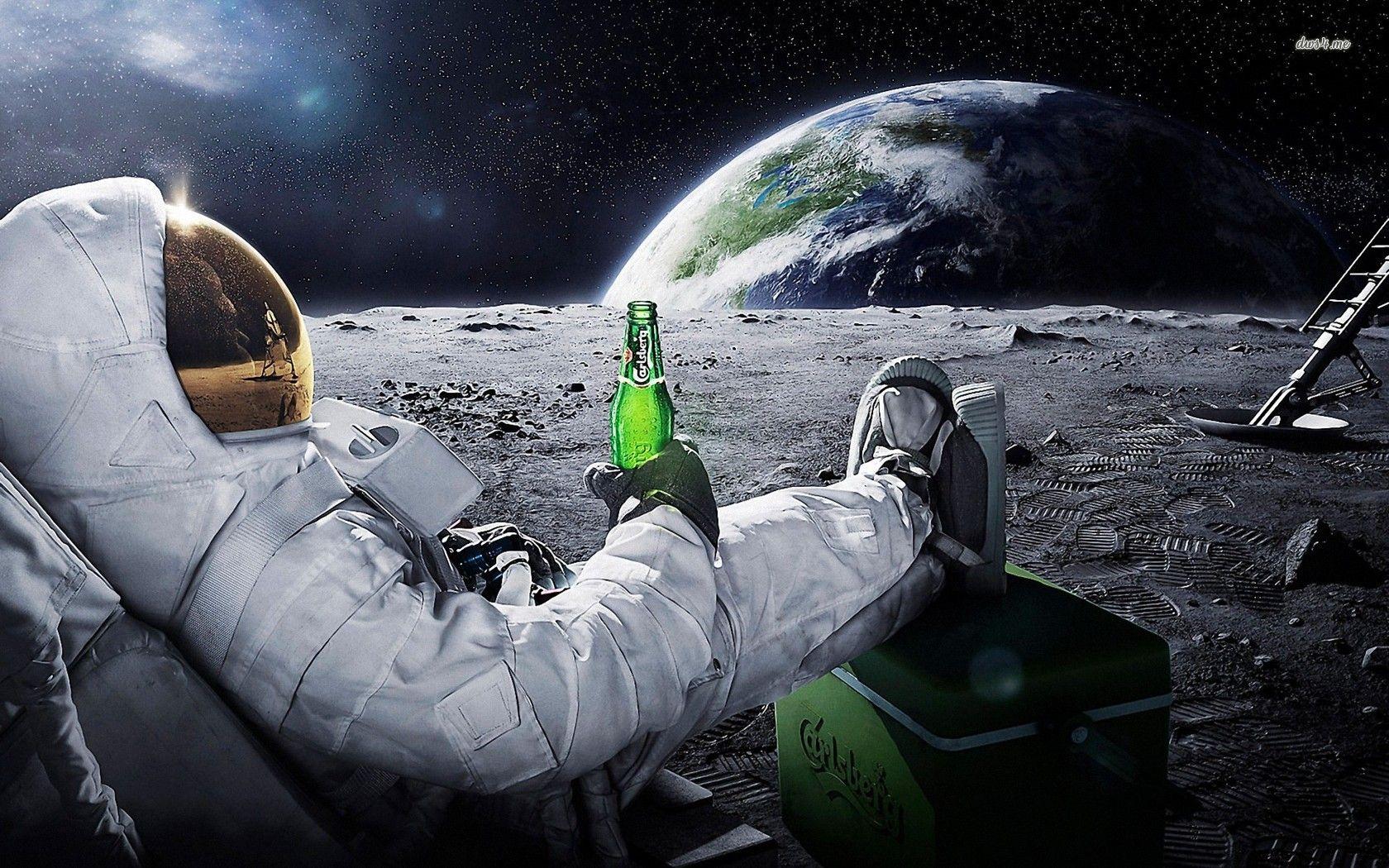 Astronaut Enjoying A Carlsberg On The Moon Hd Wallpaper Astronaut Wallpaper Astronauts In Space Desktop Wallpaper