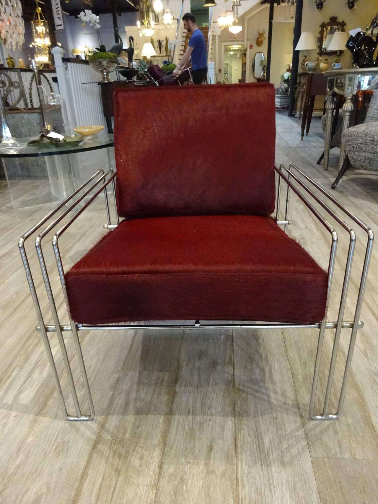 Sedia Karol Wood Pair Of Italian Chrome Club Chairs With Pony Hair Upholstery