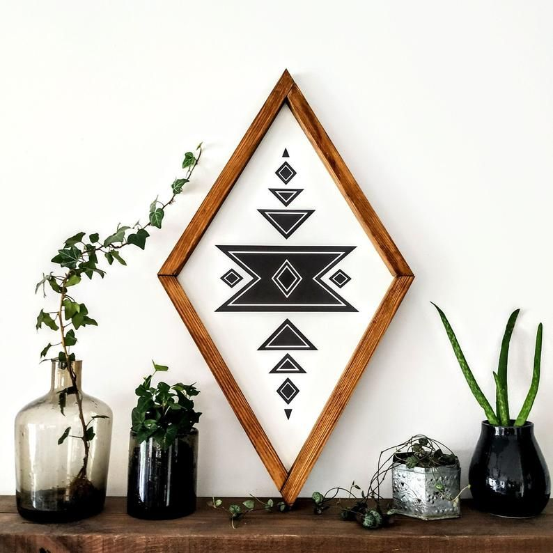 Aztec Wood Sign, Wood Wall Art, Wall Hangings, Home Decor Aztec Diamond Wood Sign, wall art wood