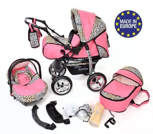 3-in-1 Travel System with Baby Pram, Car Seat, Pushchair | Pink ...