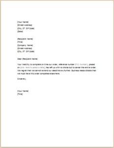 Canceling Order Letter Download At HttpWwwTemplateinnCom