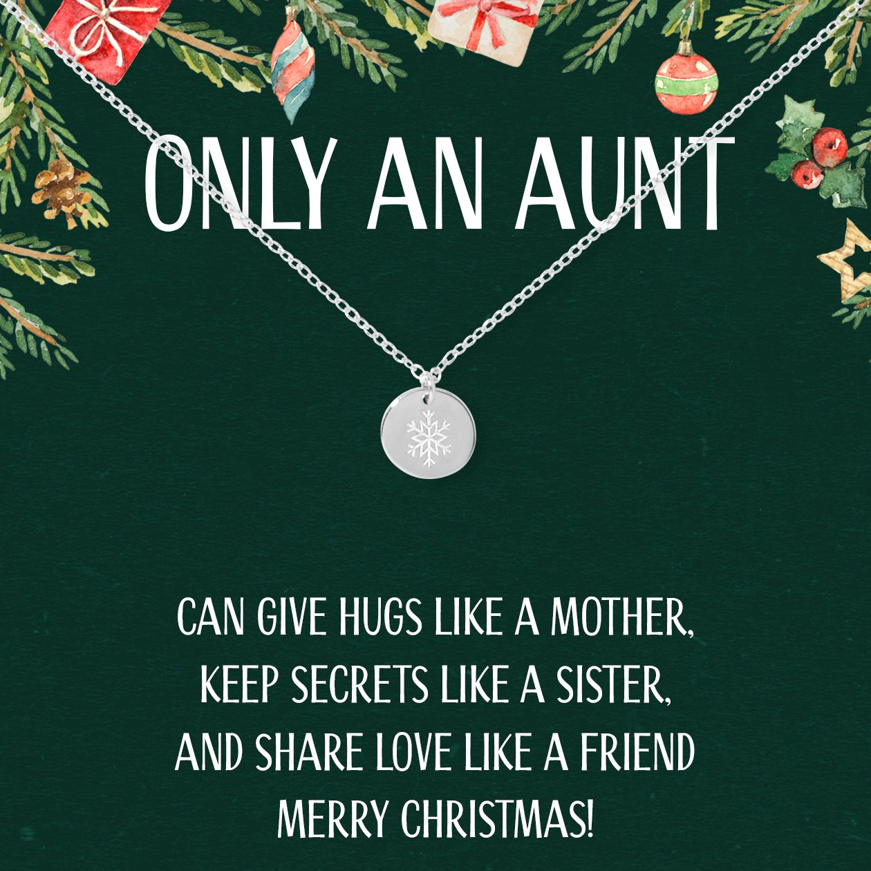Christmas Gift for Aunt Snowflake Necklace   Christmas ...