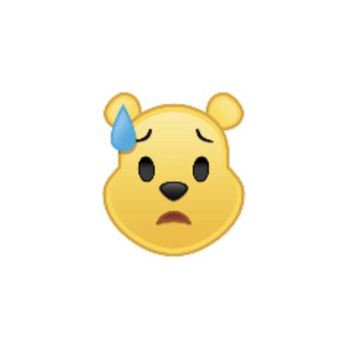 Winnie The Pooh As An Emoji Downcast With Sweat Drawing By Disney Winniethepooh Disney Emoji Disney Emoji Blitz Disney Art