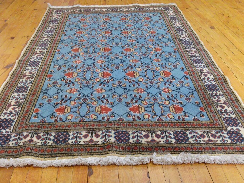 Rare Vintage 1990 1998 Turquoise 4x6ft Wool Pile Hereke Rug Turkish Rugs Area Rugs Vintage