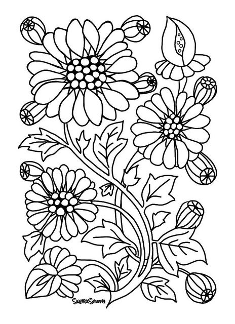 bold line coloring pages | Floral design | Coloring pages, Floral, Floral design