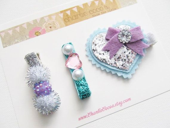 Girls/Baby Hair Clip Set-Heart Hair Clips, Glitter Hair Clips, Pom Pom Hair Clip, Glitter Heart Hair Clip Frosted by Charlie Coco's #babyhairaccessories