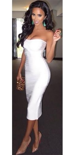 246a7fe6b1d75 White Strapless Sweetheart Neck Bandage Bodycon Midi Dress | New ...