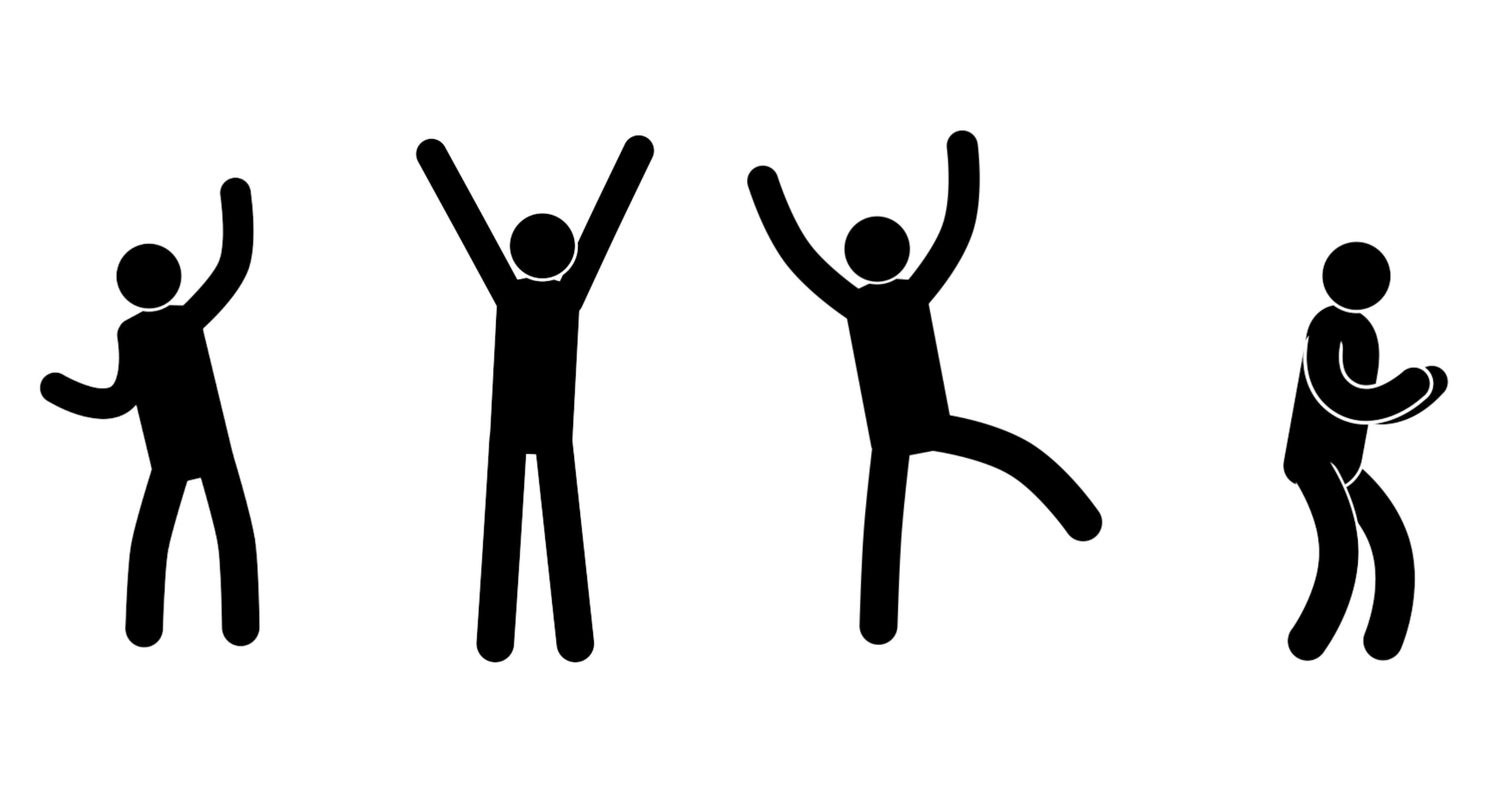 Pictograms people express their joy, success, achievement