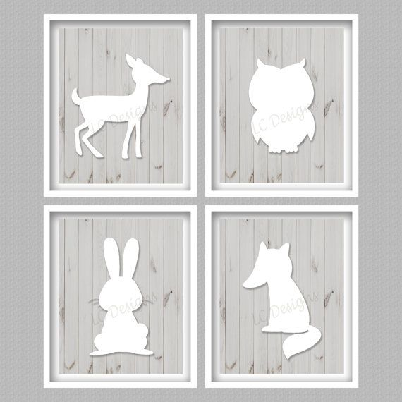Forest Animals Digital Art Prints  Set of 4  by PerfectlyMatched
