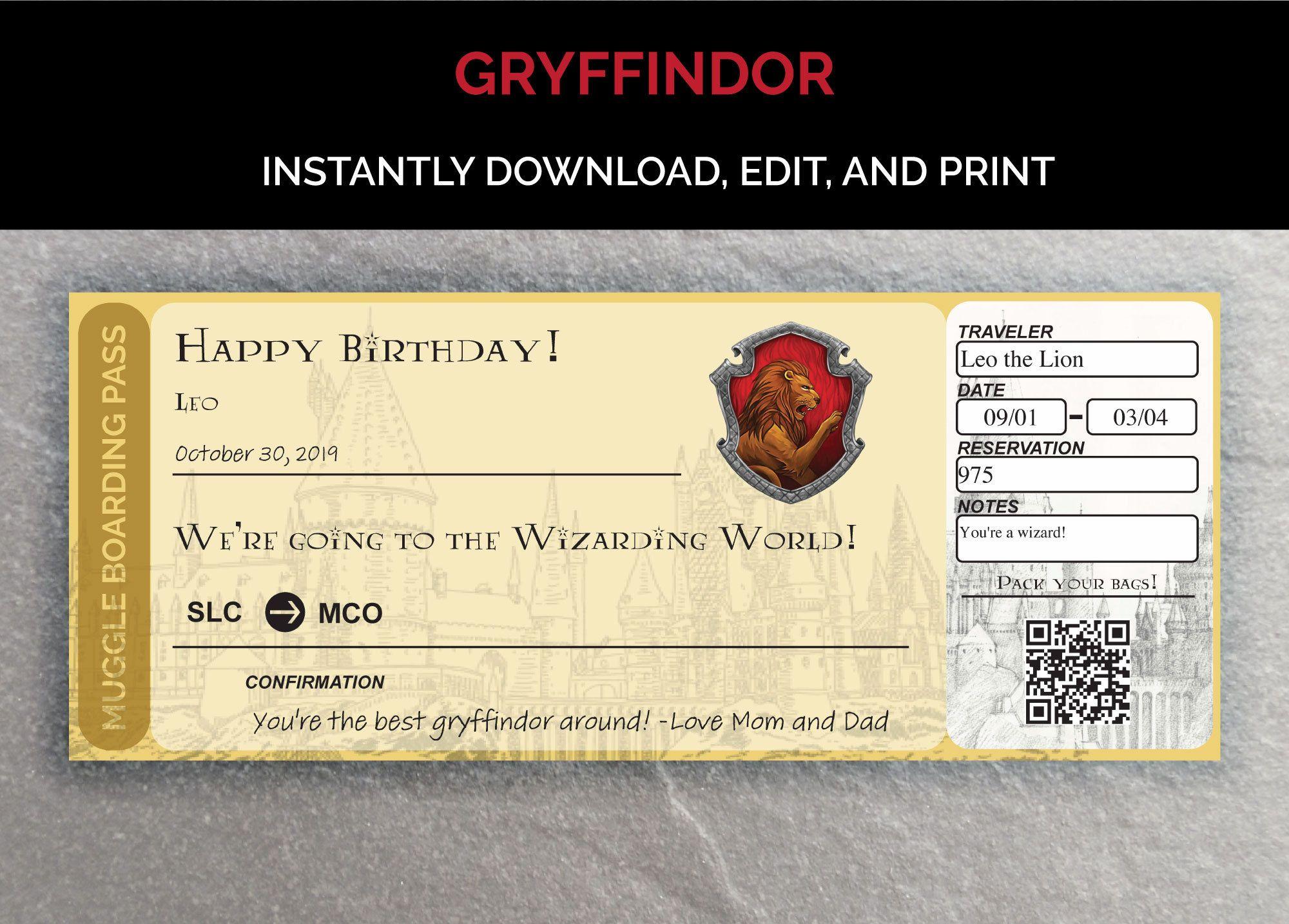 Gryffindor Editable Boarding Pass Template Etsy Boarding Pass Template Wizarding World Of Harry Potter Orlando Planning