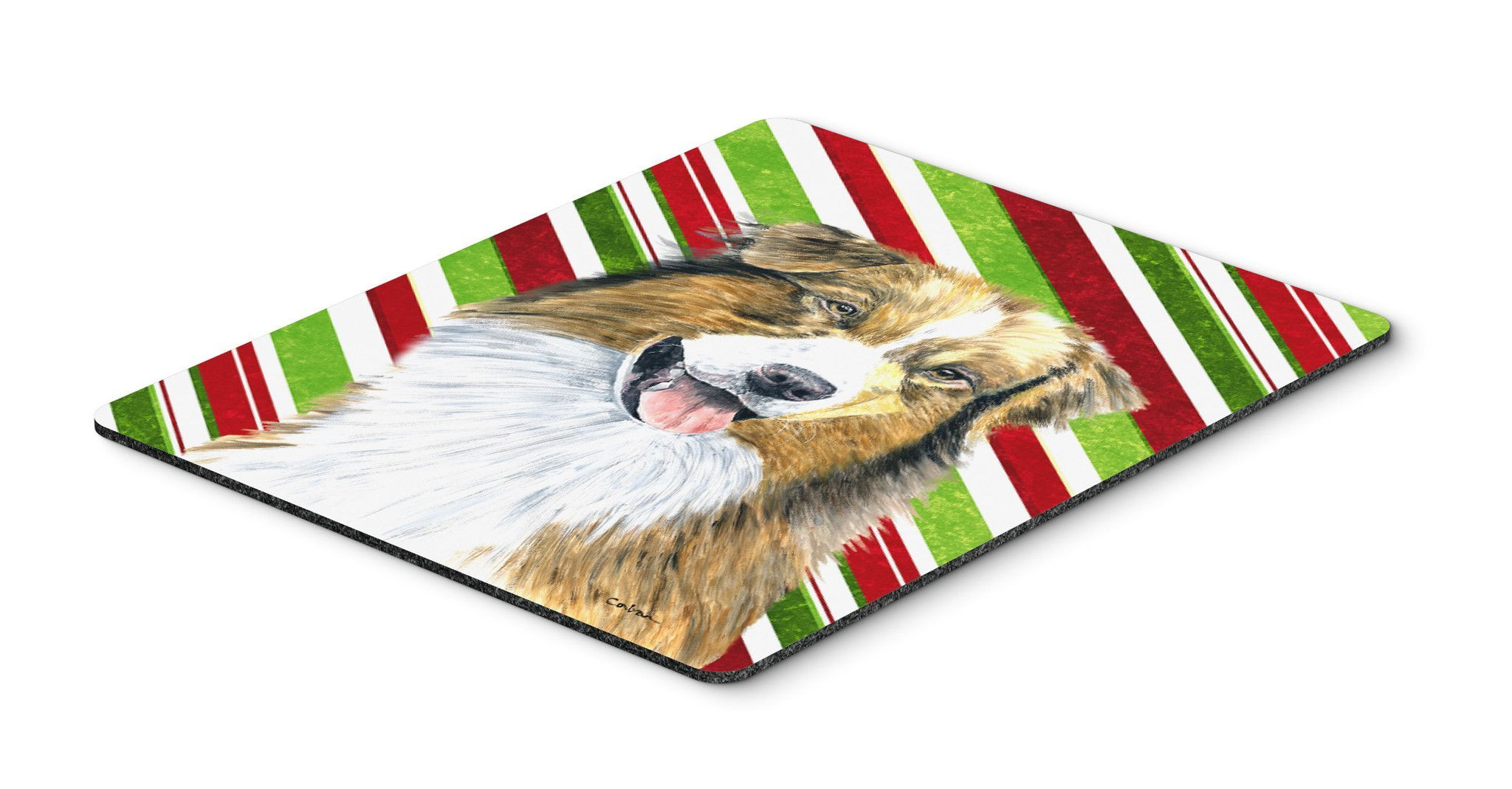 Australian Shepherd Candy Cane Holiday Christmas Mouse Pad, Hot Pad or Trivet