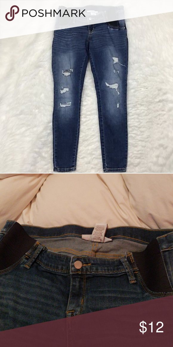 9c5f9d65ff70c Liz Lange skinny maternity Jean's Size large Skinny distressed maternity  Jean's under belly Liz Lange for Target Jeans Skinny