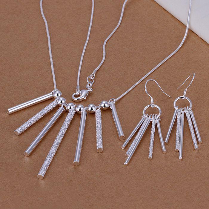 925 ジュエリー銀メッキ ジュエリー セット 、 925-sterling-silver ファッション ジュエリー セット 5 ロッド柱ピアス ネックレス s159 cqmalhta
