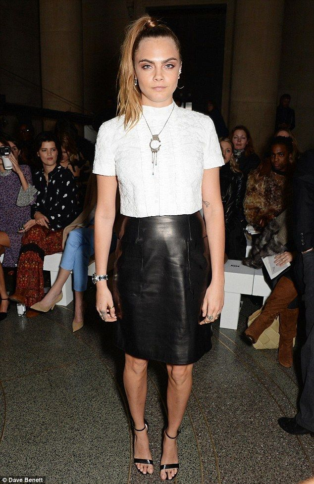 Cara Delevingne wearing Topshop Ruby Snake Effect High Heel Sandals and Boutique Leather Pencil Skirt