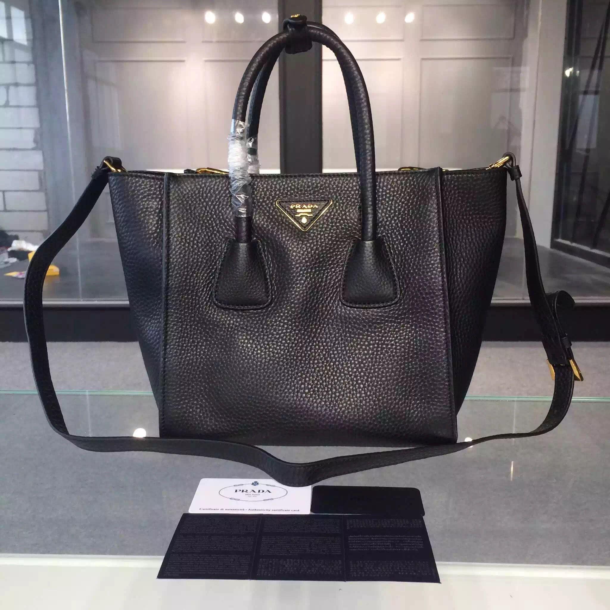260f9d0884 Prada 2625 Glace Calf Leather Tote In Black