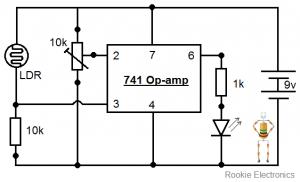 light sensor using op amp(rookie electronics) model trainslight sensor using op amp(rookie electronics)
