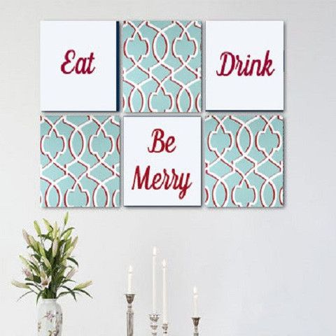 Eat Drink u0026 Be Merry Light Blue Red White Wall Art Pack of 6 Canvas Wall  sc 1 st  Pinterest & Eat Drink u0026 Be Merry Light Blue Red White Wall Art Pack of 6 Canvas ...