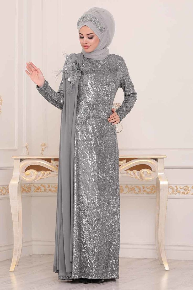 Tesetturlu Abiye Elbise Pul Payetli Gri Tesettur Abiye Elbise 86150gr Tesetturisland Com Tesettur Abiye Modelleri 2020 Musluman Modasi Elbise Moda Stilleri